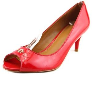 Coach Delilah Red Patent Leather peep toe heels